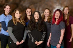 Group photo of Missoula Veterinary Clinic Technicians and Assistants